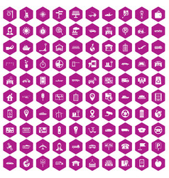 100 navigation icons hexagon violet vector