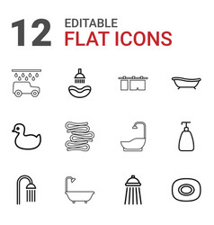 12 shower icons vector