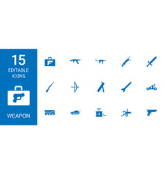 15 weapon icons vector