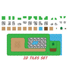 2d tiles set for top down games vector image