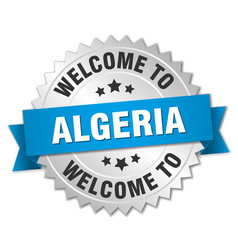 algeria 3d silver badge with blue ribbon vector image