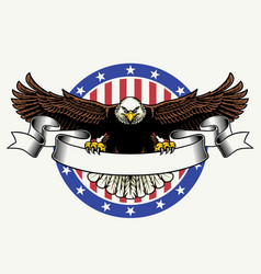 american bald eagle hold blank ribbon for text vector image