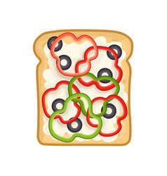 Appetizing vegetarian sandwich with pepper rings vector