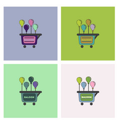 Balloons sell cart set vector