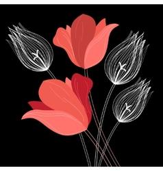 Beautiful bouquet tulips vector