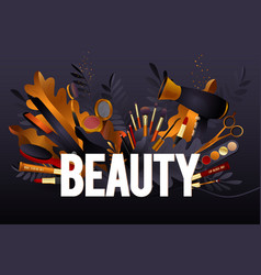 beauty salon colorful makeup and hair style vector image