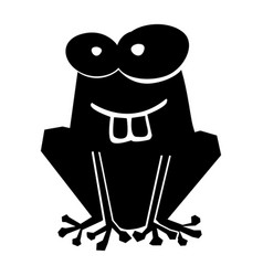 Black icon funny toad cartoon vector