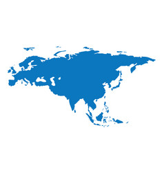 Blank blue similar continent eurasia map isolated vector