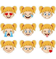 Blond girl face with blue eyes emoji expressions vector