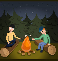Boys cook marshmallow on fire concept background vector