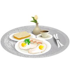 Breakfast tray with tulip vector