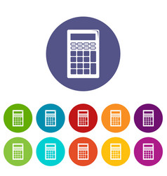 calculator icons set color vector image