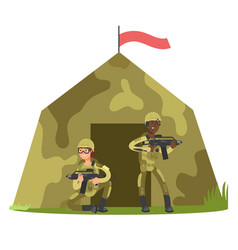 Cartoon character soldier and military tent vector