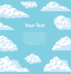 Cartoon clouds on the blue sky banner card vector