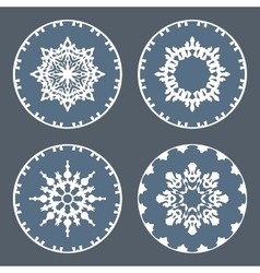 Christmas snowflake icon set Ornamental view snow vector image
