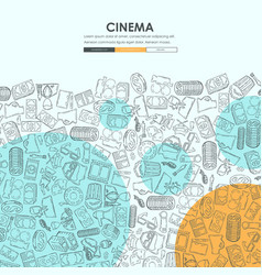 Cinema doodle website template design vector