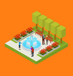 city public park or square object 3d isometric vector image