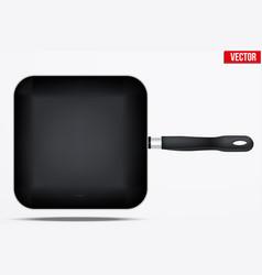 Classic metal square fry pan vector