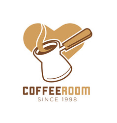 Coffee room cafe icon template of heart and vector