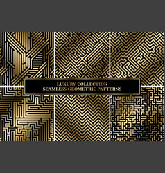 Collection of seamless geometric luxury patterns vector