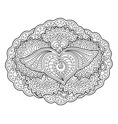 coloring book page with stylized flying heart vector image