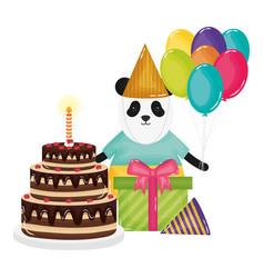 cute bear panda in birthday party vector image