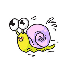 cute snail isolated cute smiling snail vector image