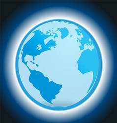 Dark Blue Background with Globe and Light vector image