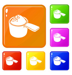Detergent dose icons set color vector