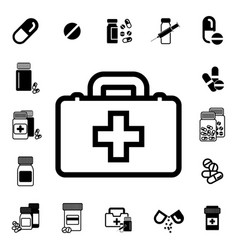 Doctors bag with cross or medical suitcase icon vector