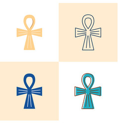 egyptian cross icon set in flat and line styles vector image