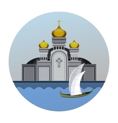 Emblem orthodox church vector