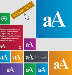 Enlarge font aA icon sign Metro style buttons vector