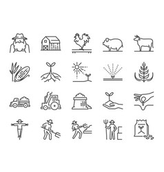 Farm and agriculture line icon set vector