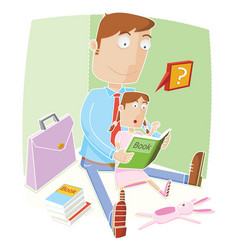father help his daughter reading a book before vector image