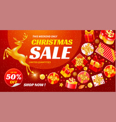 Festive christmas and new year sale banner vector