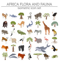 Flat 3d isometric africa flora and fauna map vector