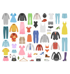 flat clothes women and men fashion modern vector image