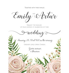 Floral wedding invitation card design with flowers vector
