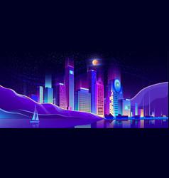 future metropolis on ocean shore background vector image