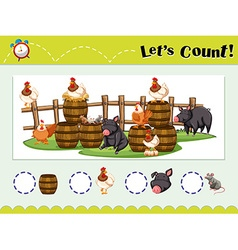 Game template for counting animals vector