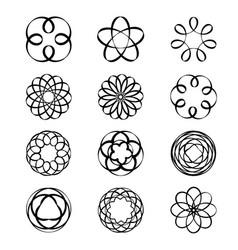 geometric circular ornament spirograph flower vector image