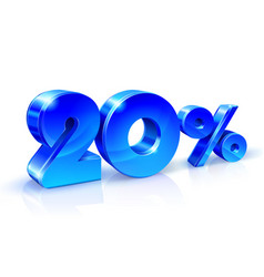 glossy blue 20 twenty percent off sale isolated vector image