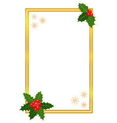 golden christmas frame with holly leaves vector image