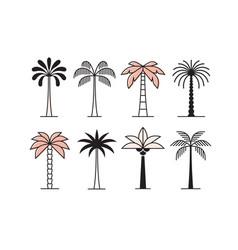 Graphic palm tree icon logo set vector