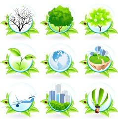 Green Icon Set vector image