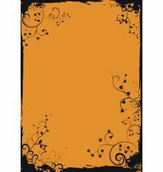 grunge orange floral frame vector image