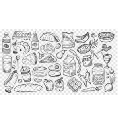 Hand drawn meal doodles set vector