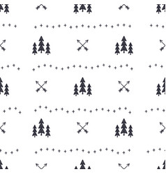 hand drawn seamless pattern with christmas tree vector image