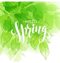 Hand lettered style spring design on watercolor vector